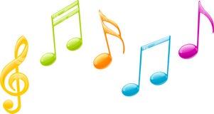 Notas coloreadas de la música Imagen de archivo