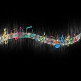 Notas coloridas da música ilustração stock
