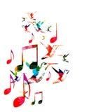 Notas coloridas da música com colibris Fotos de Stock