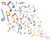 Notas coloridas da música Fundo do sumário da ilustração do vetor ilustração do vetor
