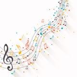 Notas coloridas de la música Imágenes de archivo libres de regalías