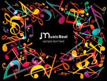 Notas coloridas de la música Fondo del extracto del ejemplo del vector Fotografía de archivo libre de regalías