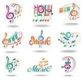 Notas coloridas de la música. Conjunto de elementos del diseño de la música Foto de archivo