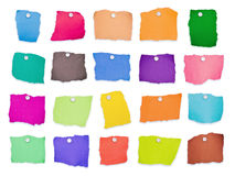 Notas coloridas isoladas imagens de stock