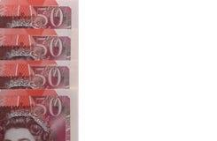 notas £50 con el espacio blanco Imagen de archivo