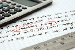 Notas corporativas escritas mão Imagem de Stock
