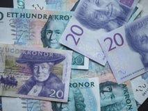 Notas da coroa sueca e da coroa norueguesa Imagens de Stock