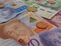 Notas da coroa sueca e moedas, Suécia Fotografia de Stock