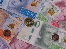 Notas da coroa sueca e moedas, Suécia Fotos de Stock