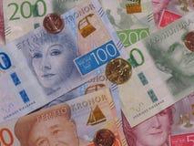 Notas da coroa sueca e moedas, Suécia Imagens de Stock Royalty Free
