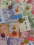 Notas da coroa sueca e moedas, Suécia Imagem de Stock