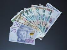 Notas da coroa sueca e da coroa norueguesa Imagens de Stock Royalty Free