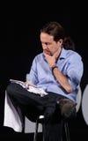 Notas da leitura de Pablo iglesias na reunião da campanha Fotografia de Stock