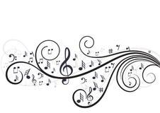 Notas da música com as ondas no branco Imagens de Stock Royalty Free