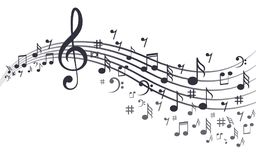 Notas da música com as ondas no branco Foto de Stock Royalty Free