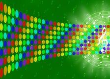 Notas da música e pontos coloridos do arco-íris no fundo verde borrado ilustração royalty free