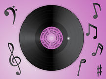 Notas da música e registro de vinil Fotos de Stock Royalty Free