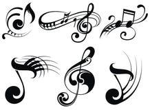 Notas da música em staves ilustração royalty free