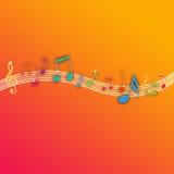 Notas da música no fundo alaranjado ilustração stock