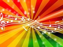 Notas da música no fundo de incandescência ilustração royalty free
