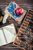 Notas da matemática na mesa da escola Imagem de Stock Royalty Free