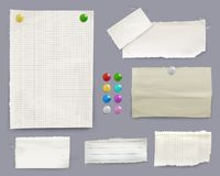 Notas da mensagem e ilustração do vetor dos pinos do papel ilustração stock