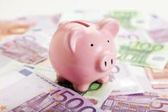 Notas da moeda do mealheiro e do europeu Fotos de Stock