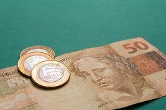 Notas da moeda real, brasileira Dinheiro de Brasil Imagem de Stock Royalty Free