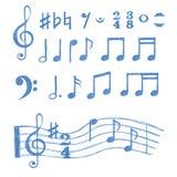 Notas da música ajustadas Coleção de símbolos de música do esboço Imagem de Stock Royalty Free
