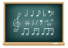 Notas da música do desenho por um giz Foto de Stock