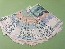100 notas da SEK da coroa sueca, moeda do SE da Suécia Fotografia de Stock Royalty Free
