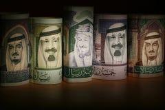 Notas de Arabia Saudita del dinero en circulación Fotografía de archivo libre de regalías