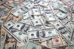 Notas de banco americanas do dólar muitas contas das notas de banco Imagem de Stock Royalty Free