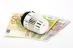Notas de banco com termostato Imagem de Stock Royalty Free