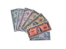 Notas de banco cubanas do meio do 20o século. Foto de Stock