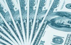 Notas de banco de cem dólares. Azul tonificado Foto de Stock Royalty Free