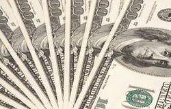 Notas de banco de cem dólares. Fundo Imagem de Stock Royalty Free