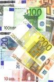 Notas de banco do euro do fundo Foto de Stock
