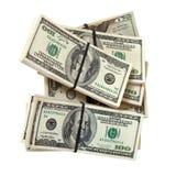 Notas de banco dos dólares americanos. Isolado no branco Imagem de Stock