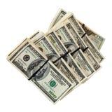 Notas de banco dos dólares americanos. Isolado no branco Imagens de Stock