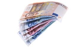 Notas de banco dos euro Foto de Stock Royalty Free