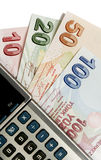 Notas de banco e calculadora turcas da lira Fotografia de Stock