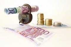 Notas de banco e moedas Fotografia de Stock