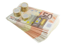 Notas de banco e moedas Foto de Stock