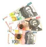 Notas de banco e moedas eslovenas Fotografia de Stock