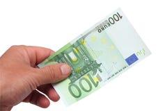 Notas de banco em sua mão Imagem de Stock Royalty Free