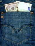 Notas de banco européias e americanas da moeda. Fotos de Stock Royalty Free