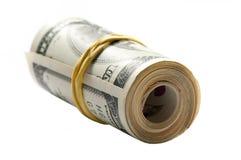 Notas de banco fora de um rolo Fotos de Stock Royalty Free