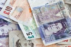 Notas de banco inglesas imagens de stock
