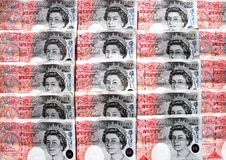 Notas de banco inglesas. fotografia de stock
